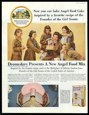 1956 Girl Scouts photo Dromedary Angel Food cake mix vintage print ad