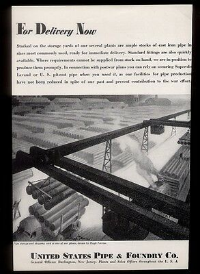 1943 Hugh Ferriss pipe storage yard art U.S. Pipe & Foundry Company print ad