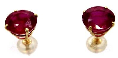 Ruby Studs 8 mm round Yellow Gold