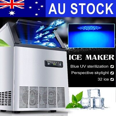 40~60KG/Day Commercial Ice Cube Maker Benchtop Machine Home Business Fast Cooler