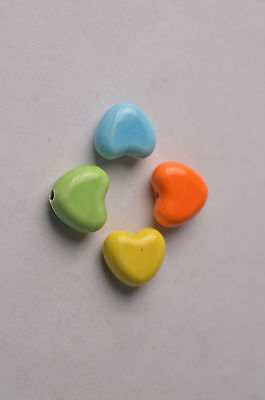 3pc Heart Shape Ceramic Loose Spacer Beads Jewelry Finding Porcelain