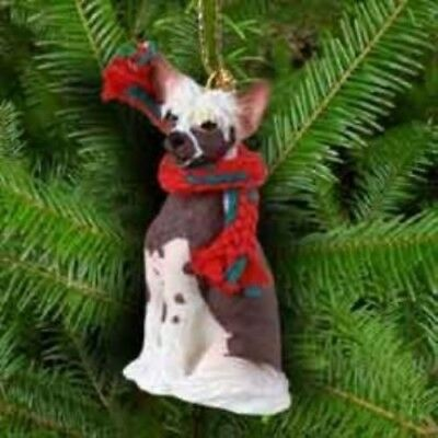 Small Resin Xmas CHINESE CRESTED Tree Ornament