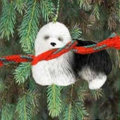 Small Resin Xmas OLD ENGLISH SHEEPDOG Tree Ornament