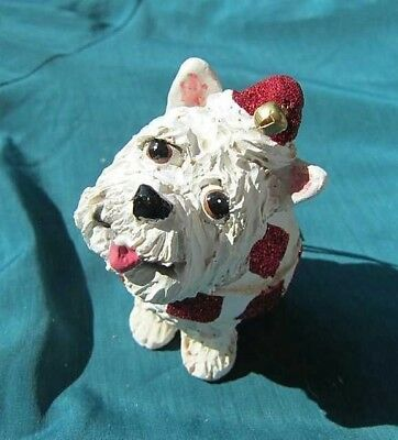 Cutie WESTIE WESTHIGHLAND TERRIER Silly Dog Resin Christmas Ornament RETIRED