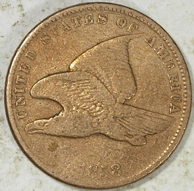 1858  US Flying Eagle Cent, Small Letters, Fine !  (e)