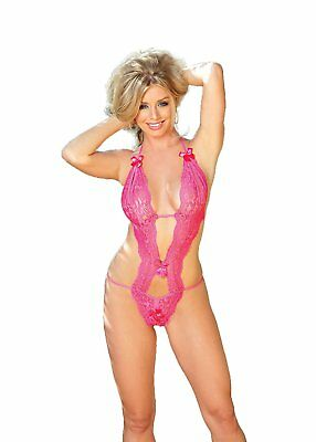 Shirley Of Hollywood Numero 96168 Taglia Unica Hot Pink Stretch Lace Peek-A-Boo
