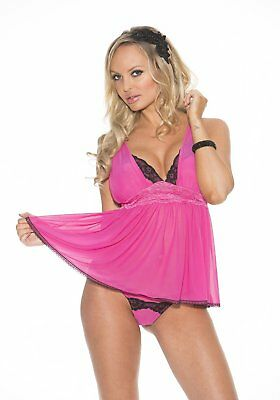 Shirley Of Hollywood Numero 31042 Medium Rosa Mesh E Pizzo Babydoll