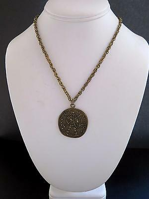 """Vintage Bronze Tone Alexander the Great 1-⅜"""" Pendant on 24"""" Chain Necklace"""