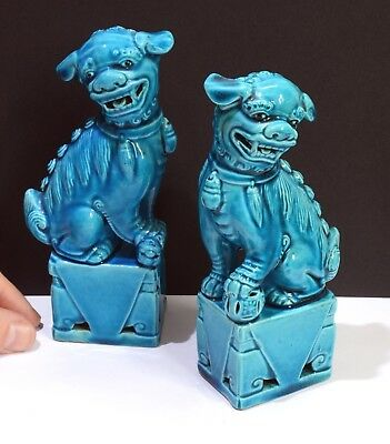 Gorgeous Vintage Pair of Chinese Ceramic Fu Dog / Lion Statues - Turquoise Blue