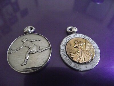 2 solid silver Chester hallmarked watch chain fobs