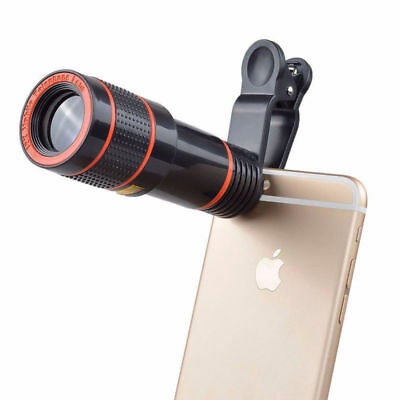 Universal Clip-on Telescope Camera Lens HD 12x Optical Zoom For iPhone Cellphone