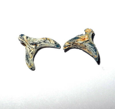 pair of BYZANTINE era SYMBOLIC GLASS CRESCENT BEADS or PENDANTS - circa 700 AD