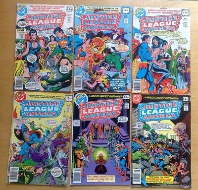 6 x JUSTICE LEAGUE OF AMERICA #161,163,164,165,168,169 DC COMICS 1978 N/FN COND.