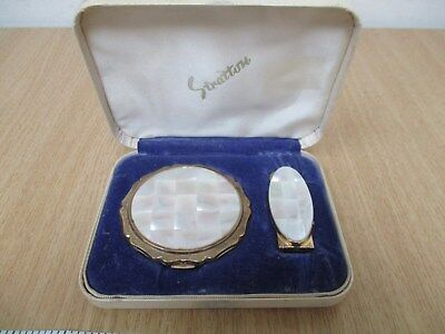 Beautiful Gold Tone Mother of Pearl Stratton Compact Powder and Lipstick Holder