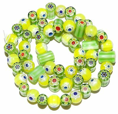 G3482f Yellow & Green Multi-Color Flower 8mm Round & Tube Millefiori Glass Beads