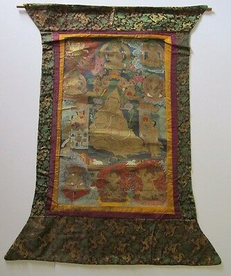 Antique Tibet Thangka Buddha Iconic 19Th Century Ornate Spiritual Asian Folk Art
