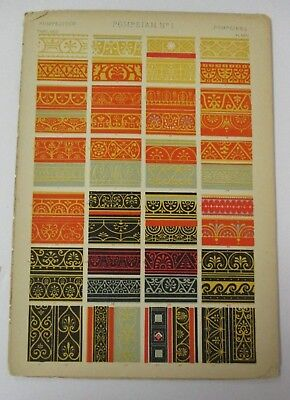 1868 Owen Jones GRAMMAR OF ORNAMENT Pompeian Ornament Chromolithograph Lot of 3
