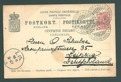 FINLAND - 1896 postal card to Germany