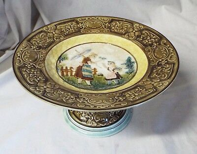 Old Antique MAJOLICA Woman with Umbrella & Girl CAKE PLATE CAKE STAND #20224