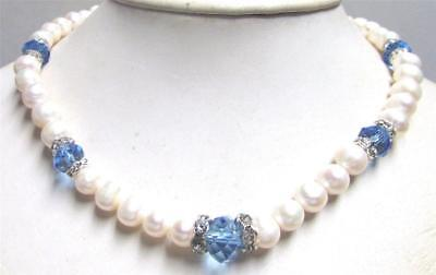 Vintage 80's Glass Pearl Glass Crystal Rondelle Rhinestone Bead Necklace