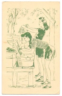 A Girl Scout Camp Post Card,Washing Day,publisher Girl Scouts (AP 9)