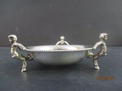 Antique Italian 800 Silver Salt Dip Or Pin Tray Pan Narnia Footed