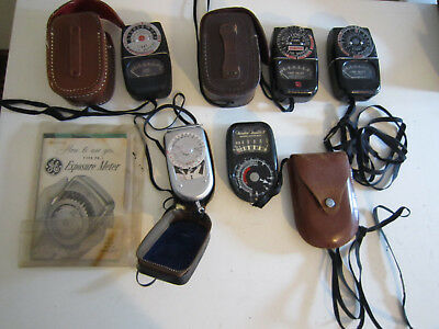 Lot Of 5 Vintage General Electric & Sekonic Light Exposure Meters With Cases