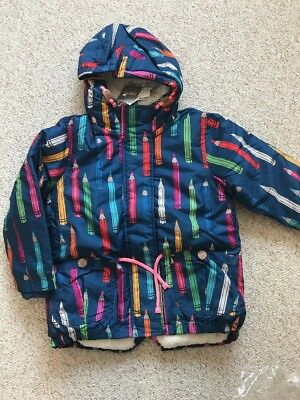 Next Girls Hooded Coat 3-4 Years BNWT School Jacket New Shower Resistant