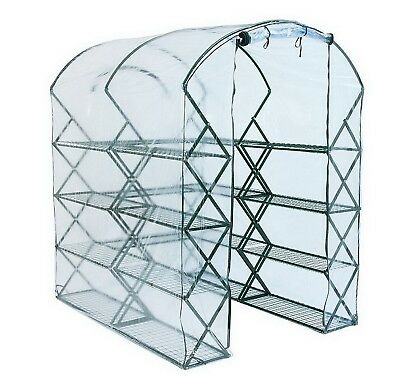 New Pop Up Portable Greenhouse with Shelves Steel Frame PVC Cover