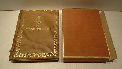 1973 Cook Islands 9 Coin Proof Set With 2 Sterling Silver Coins In Cased Book