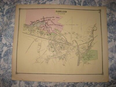Antique 1875 Ashland Middlesex County Massachusetts Handcolored Map Superb Cond.