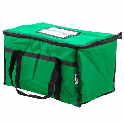 """Choice 23"""" x 13"""" x 15"""" Green Insulated Nylon Food Delivery Bag / Pan Carrier"""