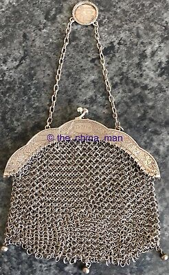 signed antique CHINESE 900 SOLID SILVER MESH PURSE with 2 DRAGONS & PEARL 115g