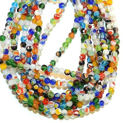 """G4241L2 Assorted Color Multiple Flower 3mm Round Millefiori Glass Beads 13"""""""