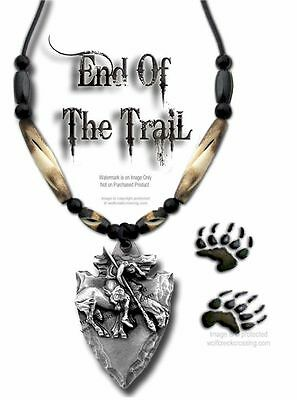 Rugged End Of Trail Necklace - Carved Buffalo Bone Bead Jewelry - Free Ship #w