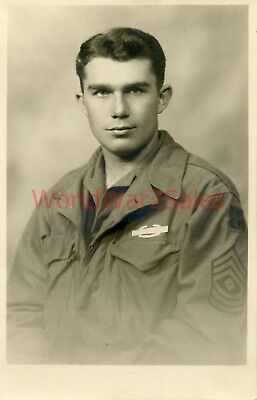 #166 WWII 90th Infantry Division Photo ~ Named Portrait ~ 1st Sgt Rodney Long ~