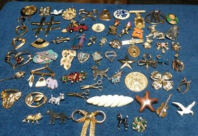 Lot of Vintage Jewelry Large Brooch Collection 62 total pieces ENORMOUS