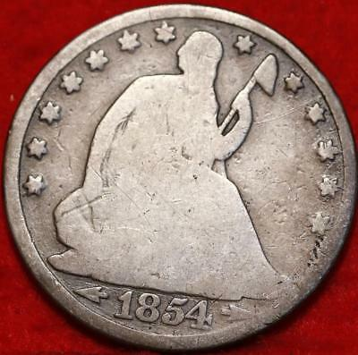 1854-O New Orleans Mint Silver Seated Liberty Half Dollar Free S/H