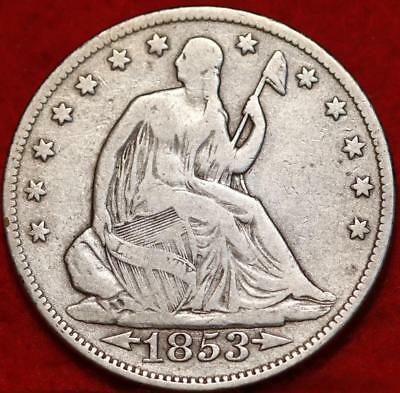 1853 Philadelphia Mint Silver With Arrows Seated Liberty Half Dollar Free S/H