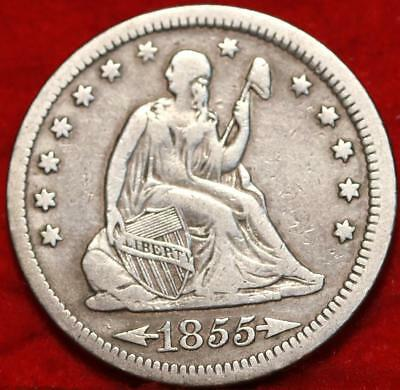 1855 With Arrows Philadelphia Mint Silver Seated Liberty Quarter Free Shipping