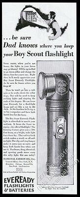 1930 Eveready Official Boy Scout Scouts flashlight photo vintage print ad
