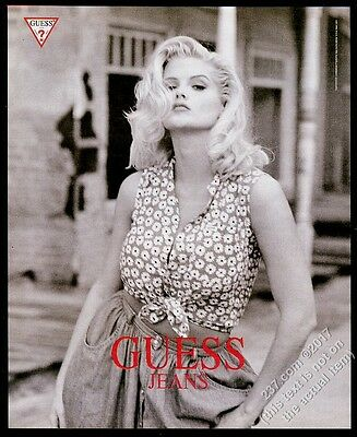 1993 Anna Nicole Smith photo in flower blouse Guess fashions vintage print ad