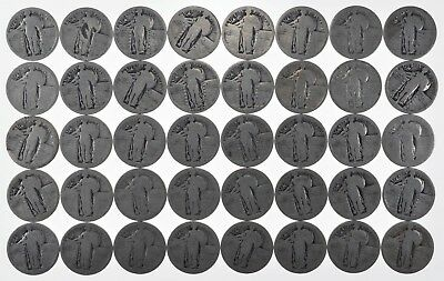 Roll of 40 NO Date Standing Liberty Quarter - 90% Silver $10 Face *656