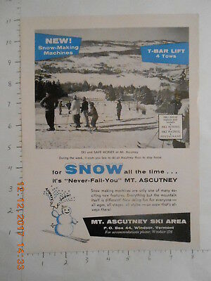 1959 MT Ascutney Ski Area resort vintage downhill skiing AD Windsor Vermont VT