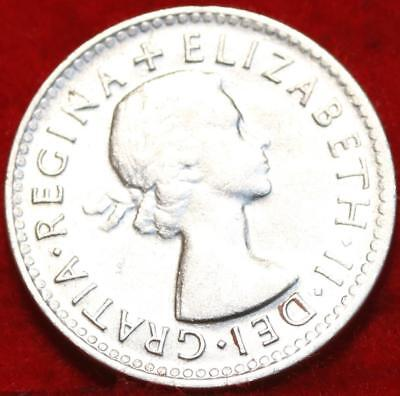 Uncirculated 1954 Australia 3 Pence Silver Foreign Coin Free S/H