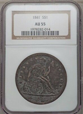 1841 Seated Liberty Silver Dollar NGC AU55 Nice! No Reserve Auction