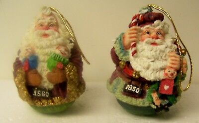 2 American Santas Through the Decades Ornaments 1850 & 1860 Roly Poly by  Roman