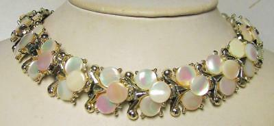 Vintage 50's Mother of Pearl Bead Collar Chain Link Necklace Off White