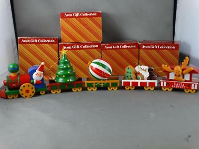 Set of 5 AVON CHRISTMAS TRAIN Cars Tree Cookie Engine Caboose Ornaments