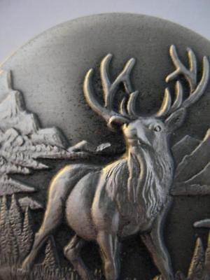 1+Oz .925 Longines Wildlife Sterling Silver Tule Elk 3D High Relief Coin + Gold